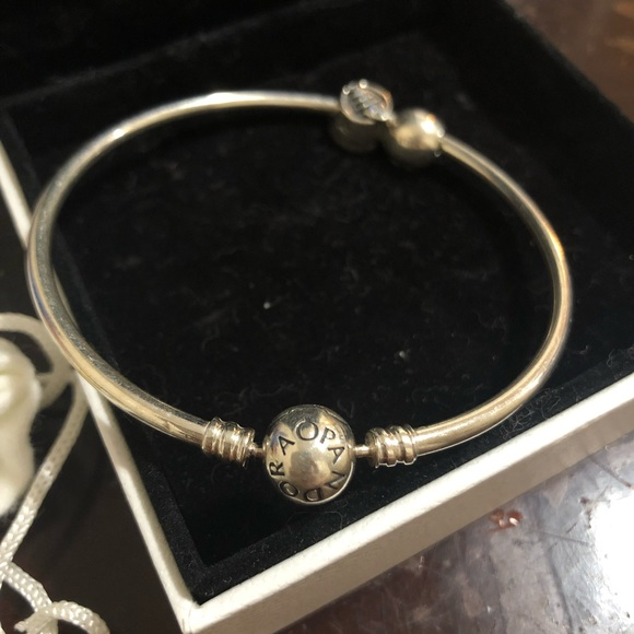 Pandora Jewelry - Silver pandora bangle with charms